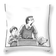 A Father, Son, And Dog All Worry At The Sight Throw Pillow