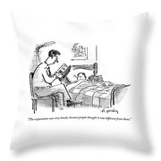 A Father Tucks His Son Into Bed With A Bedtime Throw Pillow