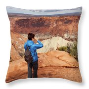 A Female Hiker Looking Throw Pillow