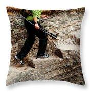 A Female Hiker Walking Up Steps Chopped Throw Pillow
