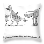 A Female Pigeon Consoles Another Female Pigeon Throw Pillow