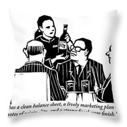 A Female Sommelier Presents A Bottle Of Wine Throw Pillow
