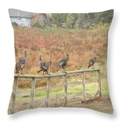 A Fence Line Of Fall Turkeys Throw Pillow