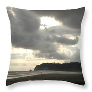 A Figure Strolls Along The Beach, Playa Throw Pillow
