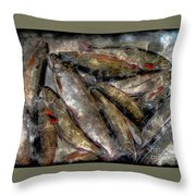 A Fine Catch Of Trout - Steel Engraving Throw Pillow