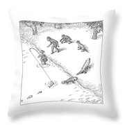 A Fisherman Wading In The Water  Catches A Fish Throw Pillow