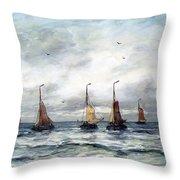 A Fishing Fleet Throw Pillow