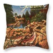 A Fishing Scene Throw Pillow