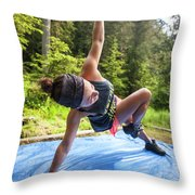 A Fit Woman Completes A Morning Throw Pillow