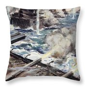 A Fleet Of Battleships Firing Throw Pillow