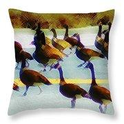 A Flock Of Geese Throw Pillow