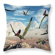 A Flock Of Thalassodromeus Pterosaurs Throw Pillow