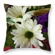 A Flower Basket Throw Pillow