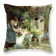 A Flower Market In Paris Throw Pillow