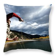 A Fly Fisher Casting His Line Throw Pillow