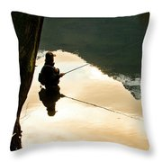 A Fly Fisherman Standing In A River Throw Pillow