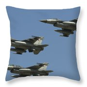 A Formation Of Turkish Air Force F-16cd Throw Pillow
