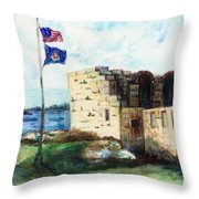 A Fort In Maine Throw Pillow