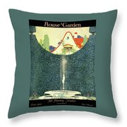 A Fountain With A Hedge In The Background Throw Pillow