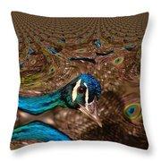 A Fractual Peacock  Throw Pillow