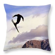 A Freestyle Skier Takes A Jump In Utah Throw Pillow
