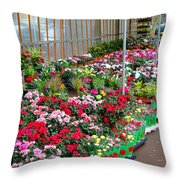 A French Flower Market Throw Pillow