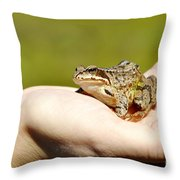 A Frog In The Hand Throw Pillow