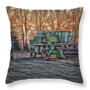A Frosty John Deere Turbo 7700 Combine Throw Pillow