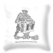 A Frustrated-looking Bird Perches Himself Throw Pillow