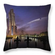 A Futuristic City On An Throw Pillow