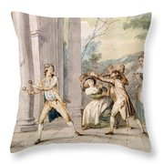 A Game Of Blind Mans Buff, C.late C18th Throw Pillow