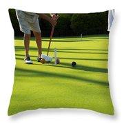A Game Of Croquet Throw Pillow