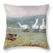 A Game Of Fox And Geese, 1868 Throw Pillow