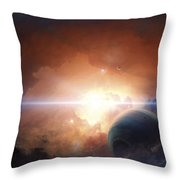 A Gas Giant Partly Hidden In A Nebula Throw Pillow