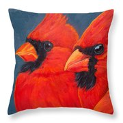 A Gathering Of Cardinals Throw Pillow
