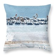 A Gathering Of Pelicans Throw Pillow
