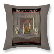 A Gilded Mantle Clock In A Bell Jar Throw Pillow