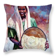 A Girl From The Countryside Throw Pillow