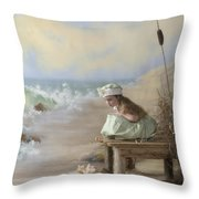 A Girl Posed By The Seashore Victoria Throw Pillow