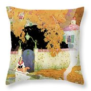 A Girl Sweeping Leaves Throw Pillow
