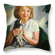 A Girl With A Cat Throw Pillow