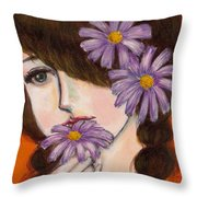 A Girl With Daisies Throw Pillow
