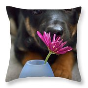 A Girl's First Flower Throw Pillow