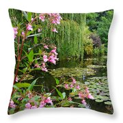 A Glimpse Of Monet's Pond At Giverny Throw Pillow