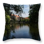 A Glimpse Through The Trees - Bruges Belgium Throw Pillow