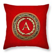 A - Gold Vintage Monogram On Red Leather Throw Pillow