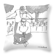A Golf Caddy Looks Over A Kneeling Golfer Who Throw Pillow