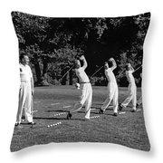 A Golf Driving Demonstration. Throw Pillow
