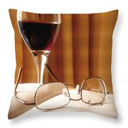 A Good Book And A Glass Of Wine Throw Pillow by Lucinda Walter