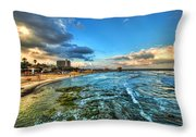 a good morning from Hilton's beach Throw Pillow